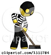 Yellow Thief Man Cleaning Services Janitor Sweeping Side View