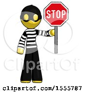 Yellow Thief Man Holding Stop Sign