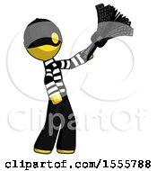Yellow Thief Man Dusting With Feather Duster Upwards