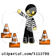 Yellow Thief Man Standing By Traffic Cones Waving