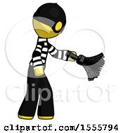 Yellow Thief Man Dusting With Feather Duster Downwards