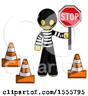 Yellow Thief Man Holding Stop Sign By Traffic Cones Under Construction Concept