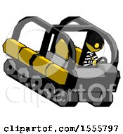 Yellow Thief Man Driving Amphibious Tracked Vehicle Top Angle View