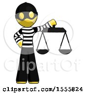 Yellow Thief Man Holding Scales Of Justice