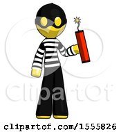 Yellow Thief Man Holding Dynamite With Fuse Lit