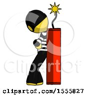 Yellow Thief Man Leaning Against Dynimate Large Stick Ready To Blow