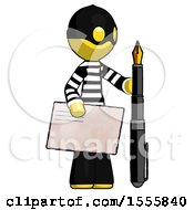 Yellow Thief Man Holding Large Envelope And Calligraphy Pen