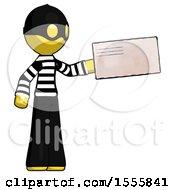 Yellow Thief Man Holding Large Envelope
