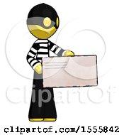 Yellow Thief Man Presenting Large Envelope