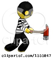 Yellow Thief Man With Ax Hitting Striking Or Chopping
