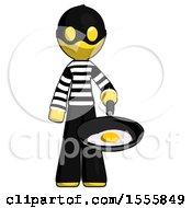 Poster, Art Print Of Yellow Thief Man Frying Egg In Pan Or Wok
