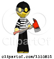 Yellow Thief Man Holding Red Fire Fighters Ax