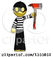 Yellow Thief Man Holding Up Red Firefighters Ax