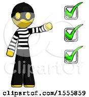 Yellow Thief Man Standing By List Of Checkmarks