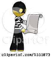 Yellow Thief Man Holding Blueprints Or Scroll
