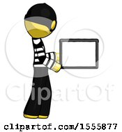 Yellow Thief Man Show Tablet Device Computer To Viewer Blank Area