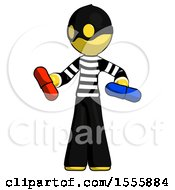 Yellow Thief Man Red Pill Or Blue Pill Concept