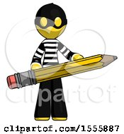 Yellow Thief Man Writer Or Blogger Holding Large Pencil