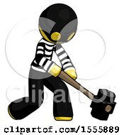 Yellow Thief Man Hitting With Sledgehammer Or Smashing Something At Angle