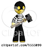Yellow Thief Man With Sledgehammer Standing Ready To Work Or Defend