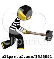 Yellow Thief Man Hitting With Sledgehammer Or Smashing Something