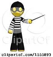 Yellow Thief Man Teacher Or Conductor With Stick Or Baton Directing