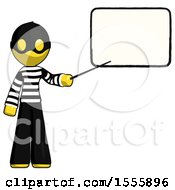 Yellow Thief Man Giving Presentation In Front Of Dry Erase Board