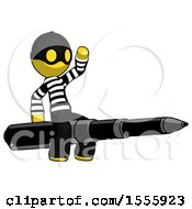 Yellow Thief Man Riding A Pen Like A Giant Rocket