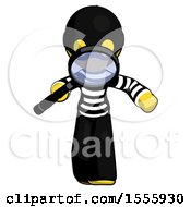 Yellow Thief Man Looking Down Through Magnifying Glass