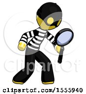 Yellow Thief Man Inspecting With Large Magnifying Glass Right