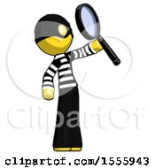 Yellow Thief Man Inspecting With Large Magnifying Glass Facing Up