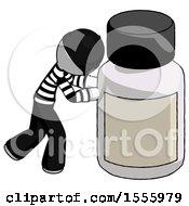 White Thief Man Pushing Large Medicine Bottle