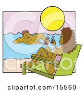 Beautiful Woman Wearing A Bikini And Relaxing In A Lounge Chair On A Beach Watching As A Muscular Man Swims Past In The Water Clipart Illustration