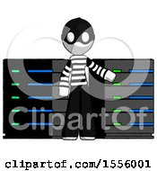 White Thief Man With Server Racks In Front Of Two Networked Systems