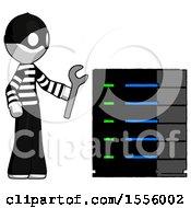 White Thief Man Server Administrator Doing Repairs