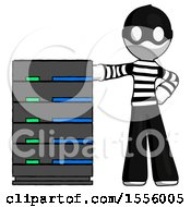 White Thief Man With Server Rack Leaning Confidently Against It