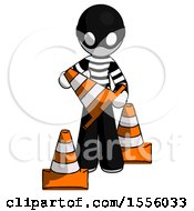 White Thief Man Holding A Traffic Cone