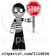 White Thief Man Holding Stop Sign