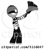 White Thief Man Dusting With Feather Duster Upwards