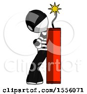 White Thief Man Leaning Against Dynimate Large Stick Ready To Blow