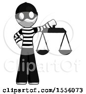 White Thief Man Holding Scales Of Justice