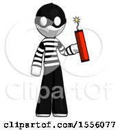 White Thief Man Holding Dynamite With Fuse Lit