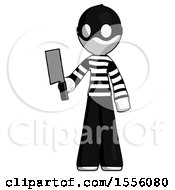 White Thief Man Holding Meat Cleaver
