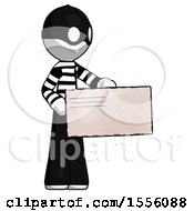 White Thief Man Presenting Large Envelope