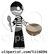 White Thief Man With Empty Bowl And Spoon Ready To Make Something