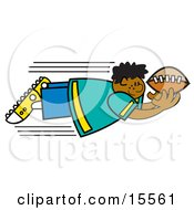 Fast Boy Flying Through The Air To Catch A Football Clipart Illustration