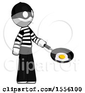 Poster, Art Print Of White Thief Man Frying Egg In Pan Or Wok Facing Right