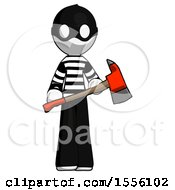 White Thief Man Holding Red Fire Fighters Ax