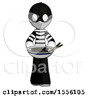 White Thief Man Serving Or Presenting Noodles