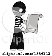 White Thief Man Holding Blueprints Or Scroll